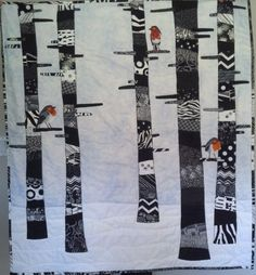 Items similar to Robins in the Birch Trees – Baby Quilt / Wall Hanging in Black & White on Etsy - Modern Butterfly Quilt, Bird Quilt, Fox Quilt, Tree Quilt Pattern, Quilt Patterns, Block Patterns, Black And White Quilts, Black White, Landscape Art Quilts