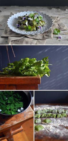 Warrigal greens gnocchi with black garlic - HeNeedsFood Gnocchi Dishes, Black Garlic, Native Australians, Edible Food, Pasta Noodles, Edible Plants, Noodle Recipes, Tray Bakes, Tofu