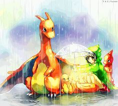 Fire type trainer in the rain