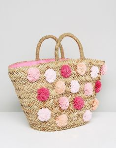 Ted Baker Barliee Pom Pom Detail Woven Basket Bag