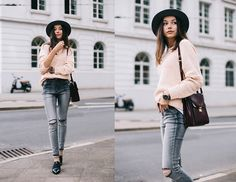Get this look: http://lb.nu/look/7818434  More looks by Beatrice Gutu: http://lb.nu/thefashioncuisine  Items in this look:  Sweater, Jeans, Shoes, Hat, Bag   #chic #classic #minimal