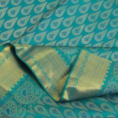 Beautiful blue leaf motif kanjivaram sari Peacock Blue Bedroom, Aqua, Teal, Moda Indiana, Aladdin And Jasmine, Indian Colours, Indian Silk Sarees, Saree Photoshoot, Kanchipuram Saree
