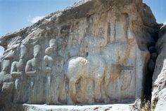 Naqsh-e Rajab - Shapur parade - Shapur I -   Relief showing Shapur I on horseback, followed by his sons and nobles