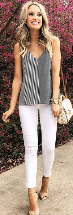 #spring #outfits blonde haired woman in gray spaghetti trap top, white skinny jeans and brown Louis Vuitton Damier leather sling bag. Pic by @champagneandchanel #womenjeans