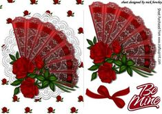 Pretty lace fan with red roses and bow on Craftsuprint - Add To Basket!
