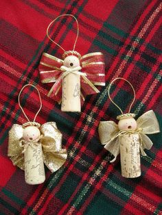 Wine Cork Christmas Ornaments Homemade | Caroling Cork Angels / Set of 3 by judystephenson on Etsy