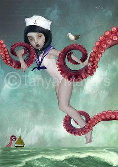 Pop Surrealism Art Print Girl Art  Sailor by HarrietsImagination, $16.00