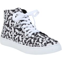 The Nightmare Before Christmas Jack Head Hi-Top Sneakers Hot Topic (€31) ❤ liked on Polyvore featuring shoes, sneakers, black sneakers, high top shoes, black hi tops, hi tops and black hi top sneakers