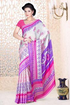 Blanc avec Violet Georgette Saree et rose Blouse Prix:-41,02 € Designer Indien blanc avec saris roses sont maintenant en magasin cadeaux par Andaaz Mode . Agrémentée de travaux imprimés et rose Georgette Chemisier manches courtes . Ceci est parfait pour l'usure du festival , décontracté , cérémonial . http://www.andaazfashion.fr/white-with-purple-georgette-saree-and-pink-blouse-dmv7878.html