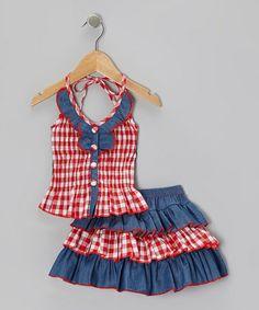 Another great find on #zulily! Red Checkerboard Halter Top & Tiered Skirt - Toddler & Girls #zulilyfinds
