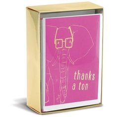 """Hipster Elephant 3"""" x 4"""" Folded Notes by Graphique de France. 10 thank you cards & envelopes. $10.00"""