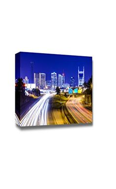 Canvas Prints Wall Art  Nashville Tennessee Usa Downtown Skyline and Highway at Night  Modern Wall Decor Home Decor Stretched Gallery Canvas Wraps Giclee Print  Ready to Hang  24 x 36 ** Check this awesome product by going to the link at the image.Note:It is affiliate link to Amazon. #gamers