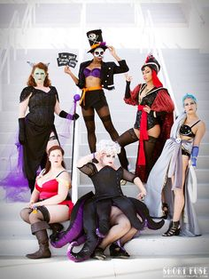 Our AMAZING Burlesque Disney Villains group at MegaCon! I felt so gorgeous as Ursula and can't wait to dress up as her again! Tentacles made by humanrabbit Wig styled. Villans Costumes, Disney Villain Costumes, Disney Cosplay, Disney Villains, Best Friend Halloween Costumes, Halloween Dress, Halloween 2020, Diy Couples Costumes, Cool Costumes