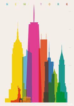 Empire State Building, statua della libertà, Washington arch quadrati, Guggenheim Museum, Bank of America Tower, One WTC, tre WTC, Conde Nast Building, NY Life Building, Chrysler Building. Tutte esatte in scala. Parte della serie di forme di città: