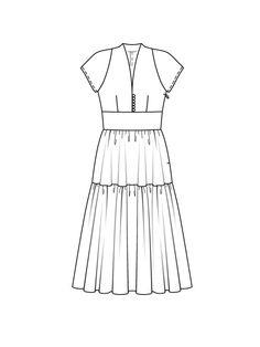 Платье с рукавами реглан - выкройка № 110 из журнала 7/2015 Burda – выкройки платьев на Burdastyle.ru