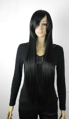 Glossy Extra Long Side Bangs Straight Style Women's Wigs
