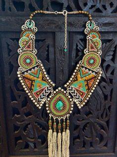 Bead Embroidery ketting met Turquoise Tibetaanse door perlinibella