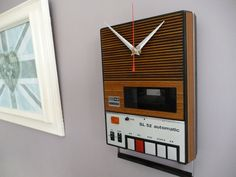 Vintage Cassette Player Wall Clock Unique 1970s Recycled Tape Player Clock Geek Chic. £75.00, via Etsy.