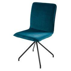 Ellipse - Chaise en velours bleu et métal noir