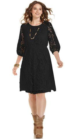 Trendy Plus Size Lace A-Line Dress