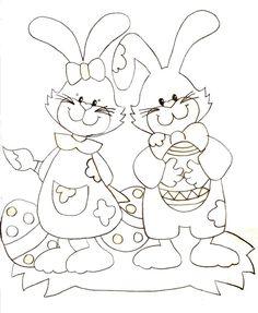 Coloriage - Les lapins de Pâques