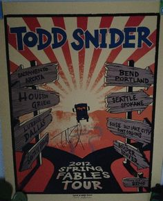 Todd Snider 2012 Spring Fables West Coast Tour.