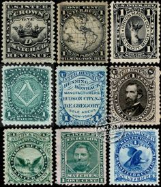 Vintage Match Tax Stamps