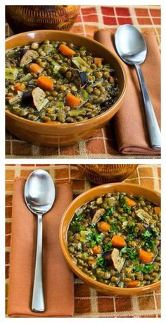 Slow Cooker Lentil Soup Recipe with Turkey Bratwurst, Leeks, and Sherry Vinegar.  This soup is healthy and delicious!  [from KalynsKitchen.com] #HealthySoup