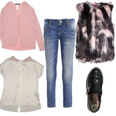 Pelliccia ecologica anche per la ragazzina che vuole essere alla moda. Cardigan rosa su camicetta manica corta con colletto rosa. Jeans stretto e scarpa mocassino nera.