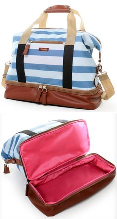 Weekend bag with separate bottom compartment for shoes. I love this. Need it!