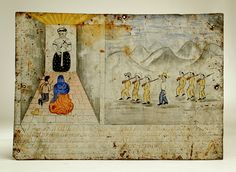 This classic late 19th / early 20th century Mexican ex-voto is dedicated to the saint shown upper left - most likely San Nicolas Tolentino.' Although the legend is only partially legible, it appears that the petitioner, Gerardo Lopez was scheduled for execution by firing squad but he petitioned San Nicolas Tolentino and he was saved. This retablo was painted in honor of this great miracle.