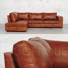 Soho hjørne skinnsofa er en robust forlengelse av SoHo serien. Den frittstående ottoman/puffen gjør at sofaen får flere bruksområder.