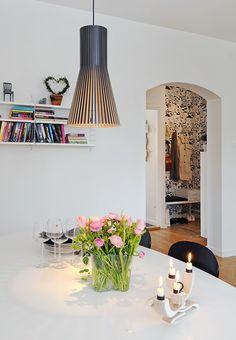 This 90 square meter apartment feature four rooms, two balconies, great views on three directions and generous ceiling height of almost m. Dining Room Inspiration, Interior Inspiration, Design Inspiration, Design Ideas, Living Area, Living Room, White Walls, Pendant Lamp, Home Kitchens