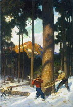 N. C. Wyeth (1882-1945) Lumber 1943 Oil on hardboard (Renaissance Panel), 30 x 20 1/2 (76.1 x 52 cm)