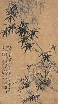 (China) Bamboo and Orchids by Zheng Xie. Qing dynasty, China.