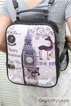GrabMyLook  Vintage London Clock Suitcase Travel Case Backpack Messenger Bag