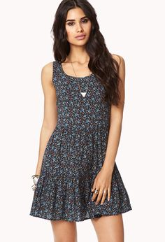 Dainty Floral Trapeze Dress | FOREVER21 - 2000051232