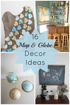 Now, I love the trend of using maps and globes to decorate your home. Here are 16 map and globe decor ideas that range from bold to discreet. Plywood Furniture, Decorating Your Home, Diy Home Decor, Decorating Ideas, Map Crafts, Globe Crafts, Crafts With Maps, Map Projects, Globe Projects