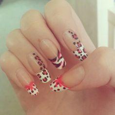 #nail #nails #nailart #pink #white #dots