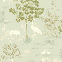 Isabelia Duck Egg Trees & Birds Wallpaper | Departments | DIY at B&Q