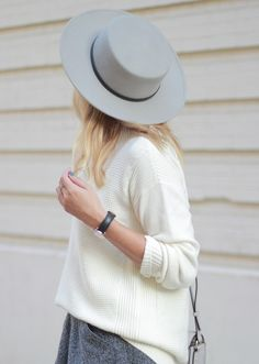 The Steele Maiden: @SoleSociety Grey Boater Hat and Oversized sweater