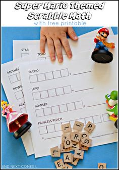 Super Mario themed Scrabble math activity for kids with free printable from And Next Comes L