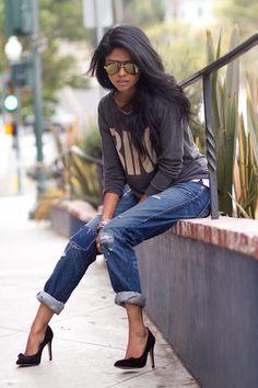 ripped jeans grey top black heels black jacket