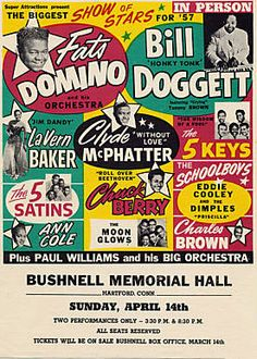 GigPosters.com - Fats Domino - Bill Doggett - Lavern Baker - Clyde Mcphatter - 5 Keys, The - 5 Satins, The - Chuck Berry - Charles Brown - Ann Cole - Schoolboys, The - Moonglows, The
