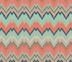 Coral, Mint and Navy Ikat Chevron fabric by sparrowsong on Spoonflower - custom fabric