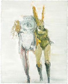 Valérie Favre  lapine univers mit einem freund. 2005 oil on canvas 50 x 40 cm