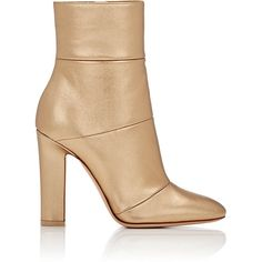 Gianvito Rossi Women's Brandy Ankle Boots ($649) ❤ liked on Polyvore featuring shoes, boots, ankle booties, ankle boots, gold, metallic ankle boots, bootie boots, side zipper boots and high heel ankle booties