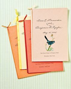 For an outdoor wedding, embellish ceremony programs with butterfly and bird cutouts.