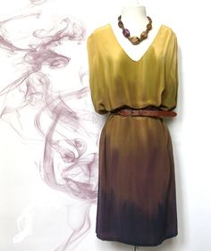 Dress silk handdyed ombre yellow olive green purple by TanjaDesign, $225.00