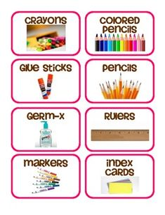 I have created supply labels with pink border to go on shoebox size sterilite containers. The labels include. crayons colored pencils glue sticks pencils germ-x rulers markers index cards craft sticks pens loose leaf paper highlighters. Classroom Labels, Classroom Decor, Kindergarten Labels, Printable Labels, Labels Free, Free Printables, Too Cool For School, School Stuff, Supply Labels